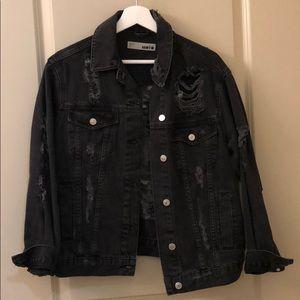 Topshop Black distressed denim jacket